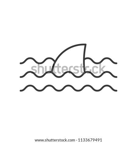 Shark fin icon, set of ocean life, line design vector
