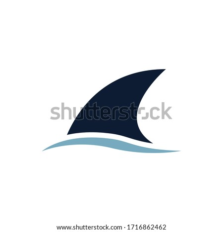 Shark fin symbol vector illustration isolated on white background Foto stock ©