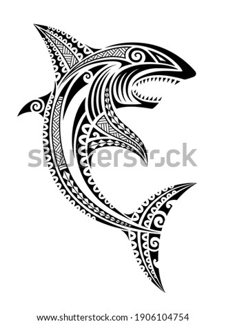 Shark fish Maori polynesian tattoo style. Tribal ethno style vector sketch. For tattoo, print, coloring book, logo, diving, decoration.