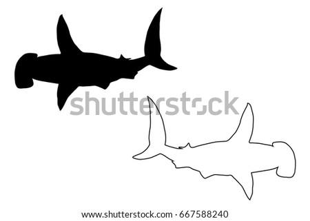 shark hammerhead silhouette vector silhouette fish