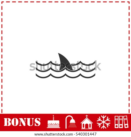 shark icon flat simple vector