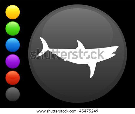 shark icon on round internet button original vector illustration 6 color versions included