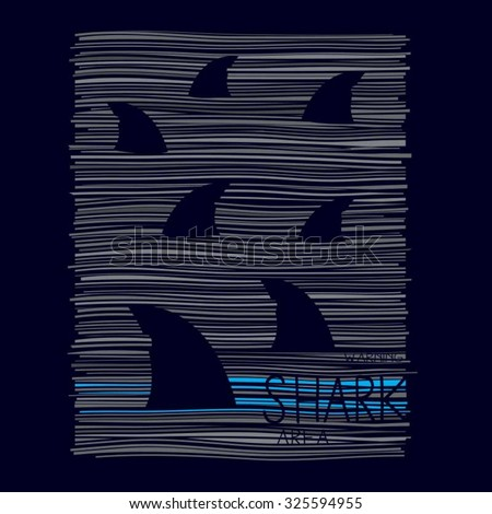 shark illustration  typography