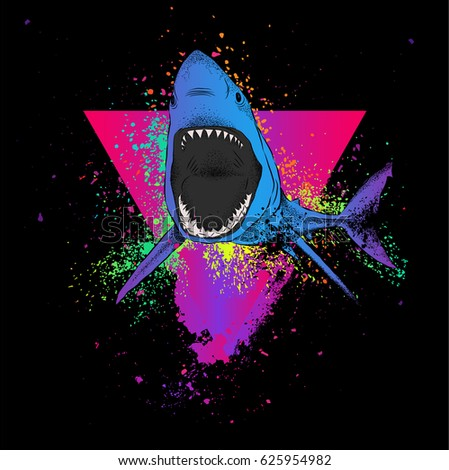 shark in a triangle abstract