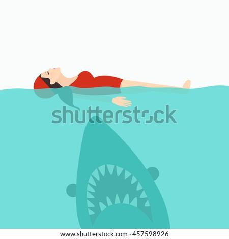 shark jaws attack woman