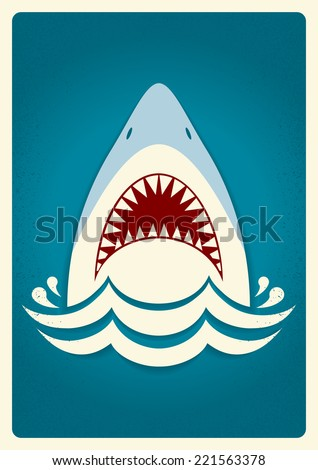 shark jawsvector blue