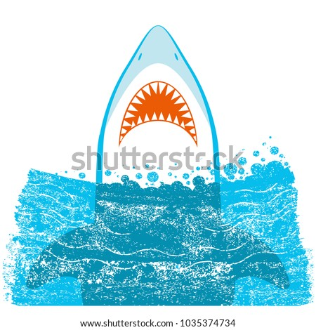 Shark jaws.Vector blue sea waves background illustration isolated on white