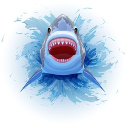 Shark jumps out of the water with his mouth open. Vector Image.