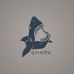 Shark logo with grunge style. Vector Illustration