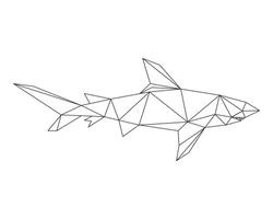 SHARK LOW POLY POLYGONAL TRIANGLE GEOMETRIC. Contour for tattoo, logo, emblem and design element.