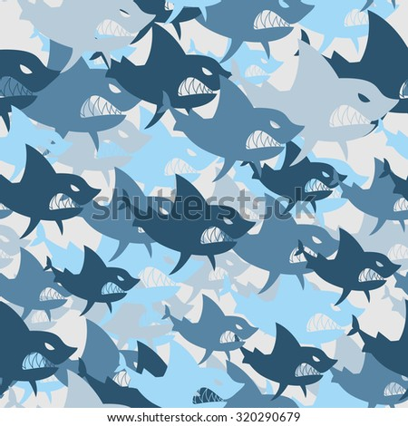 Shark military seamless pattern. Army background of fish. Soldier camouflage texture of big scary marine predator. Protective vector winter.