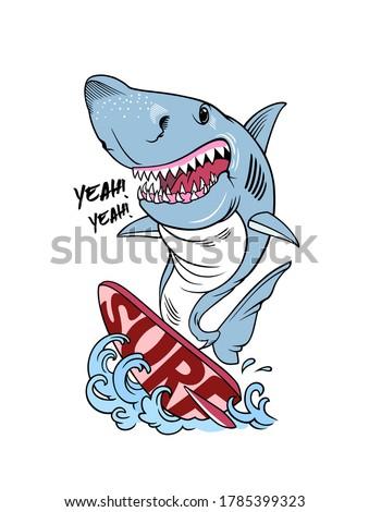 Shark on a Surfboard, Surf Shark t-shirt print design, vector illustration. Smiling Shark Cartoon Mascot Character