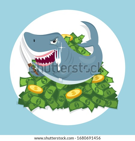 shark on pile money bills