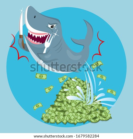 shark on pile money bills loan