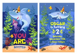 Shark party invitation with starfish, crab and devilfish vector illustration. Poster you are invited with underwater animals near aqua plants. Postcard oscar in turning with ocean characters