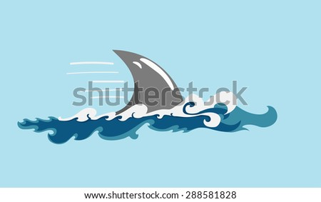 shark's fin among wavy waters