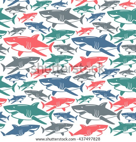Shark seamless pattern. Color  print on white background