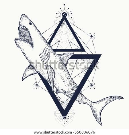 Shark tattoo geometric style. Tribal art. Shark attack t-shirt design hand drawn vector
