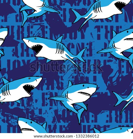 Shark vector illustration, seamless print pattern