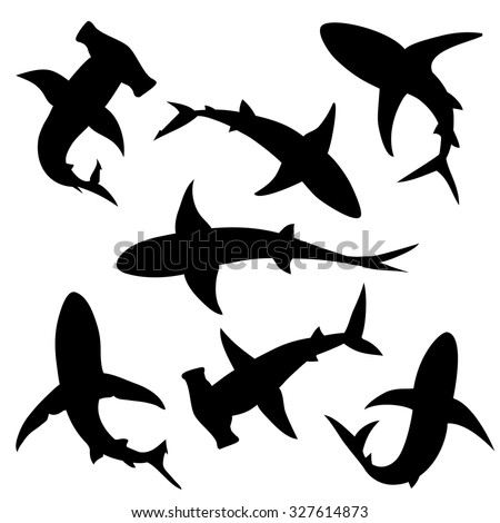 shark vector silhouettes set