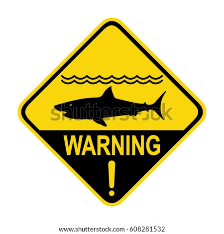 Shark warning sign, symbol