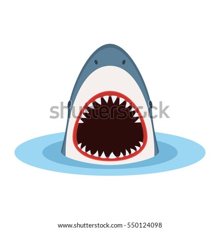 shark with open mouth and sharp