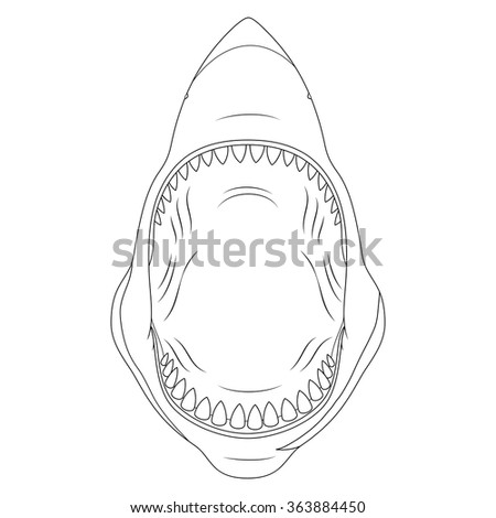 shark with open mouthblack