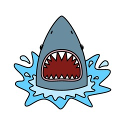 Shark with open mouth. Flat vector illustration