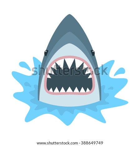 Shutterstock Shark with open mouth. Shark isolation on a white background. Flat vector illustration