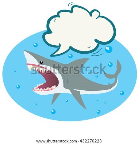 shark with speech bubble cartoon