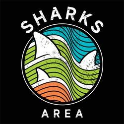 Sharks area design vector with shark illustration ready for print on tees