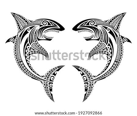 Sharks attack fish illustration Maori polynesian tattoo style. Tribal ethno style ornamental vector sketch.