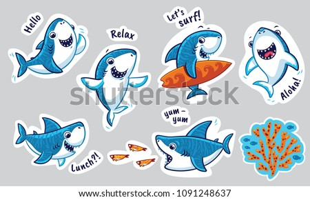 sharks catoon characters in