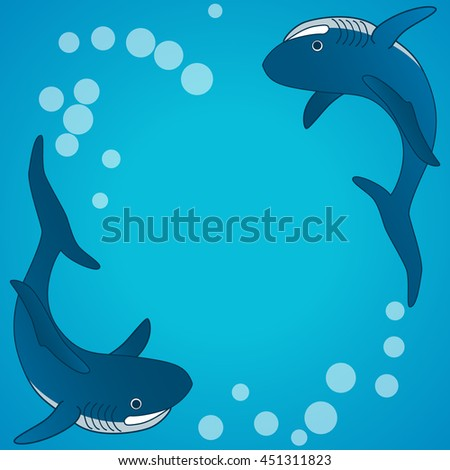 Sharks. Sea underwater background. Vector illustration.
