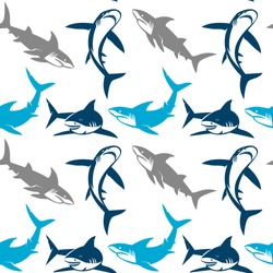Sharks silhouettes seamless pattern. Elegant seamless pattern with abstract shark symbols, design elements. Can be used for invitations, greeting cards, scrapbooking, print, gift wrap, manufacturing.