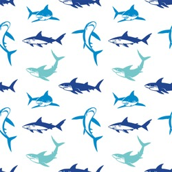 Sharks silhouettes seamless pattern. Elegant seamless pattern with abstract shark symbols, design elements. Can be used for invitations, greeting cards, print, gift wrap, manufacturing.