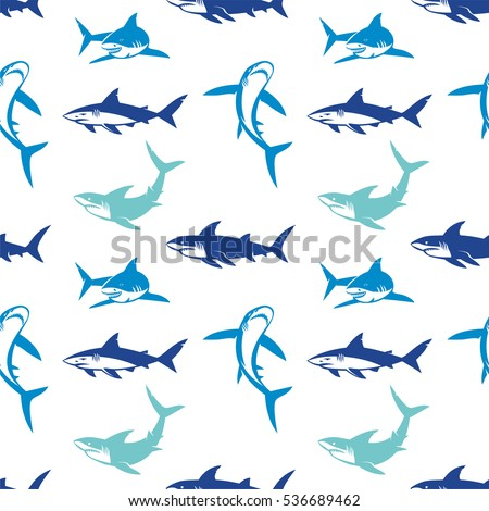 sharks silhouettes seamless