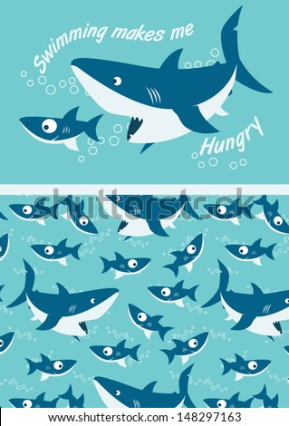 sharks swimming illustrator