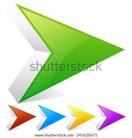 Sharp arrowheads, arrows right with slight highlight. Green, red, blue, yellow or purple colors to match your designs