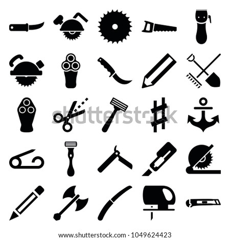 Sharp icons. set of 25 editable filled sharp icons such as pin, bllade razor, electric razor, razor, pencil, blade saw, cutter, saw blade, gardening knife, scissors