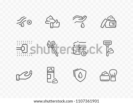 Shave line icon set isolated on transparent background. Care skin, safety razor, shaving tools, foam, face cream sale signs. Mousse, gel, drop elements. Vector outline stroke symbols for your design.