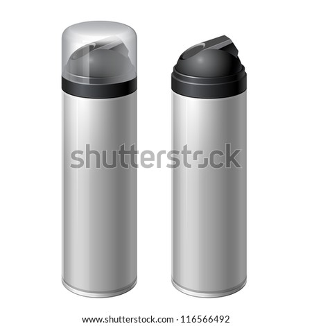 Shaving gel foam.  With lid and without. Realistic vector illustration