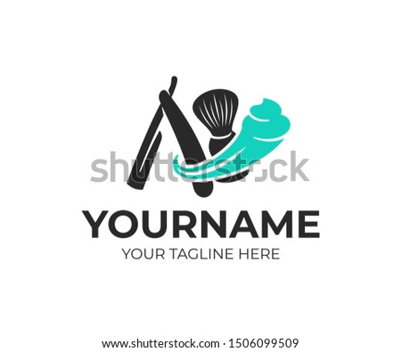 Shaving, shaving brush and straight razor with shaving foam, logo design. Beauty salon, barber, barbershop and hairdresser , vector design and illustration