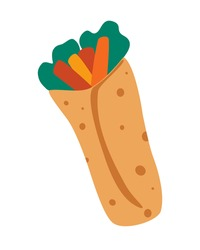 Shawarma Sandwich. Doner gebab, Shawarma, arabian traditional food. Delicious arabic roll with meat, salad and tomato. Fast food meal. Buritto, taco, mexican. Vector illustration in cartoon style.