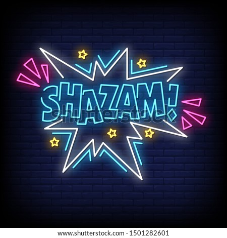 shazam neon signs style text