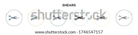 Shears icon in filled, thin line, outline and stroke style. Vector illustration of two colored and black shears vector icons designs can be used for mobile, ui, web ストックフォト ©