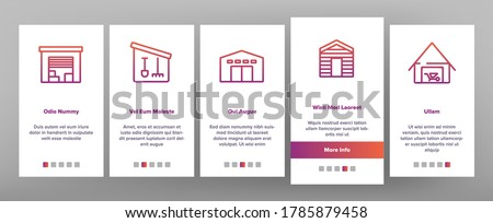 Shed Construction Onboarding Mobile App Page Screen Vector. Shed Building For Storaging Pitchfork And Rake, Shovels And Trolley, Falling Apart Storage Illustrations 商業照片 ©