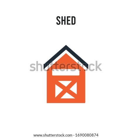 Shed vector icon on white background. Red and black colored Shed icon. Simple element illustration sign symbol EPS