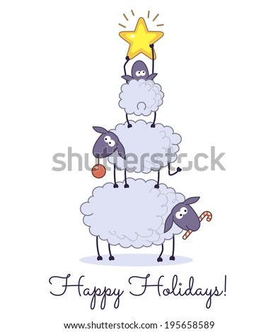 sheep christmas tree on white