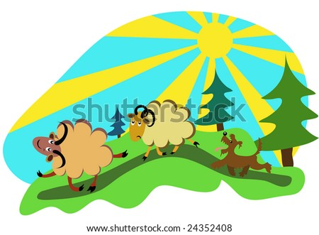 sheep grazing in the forest